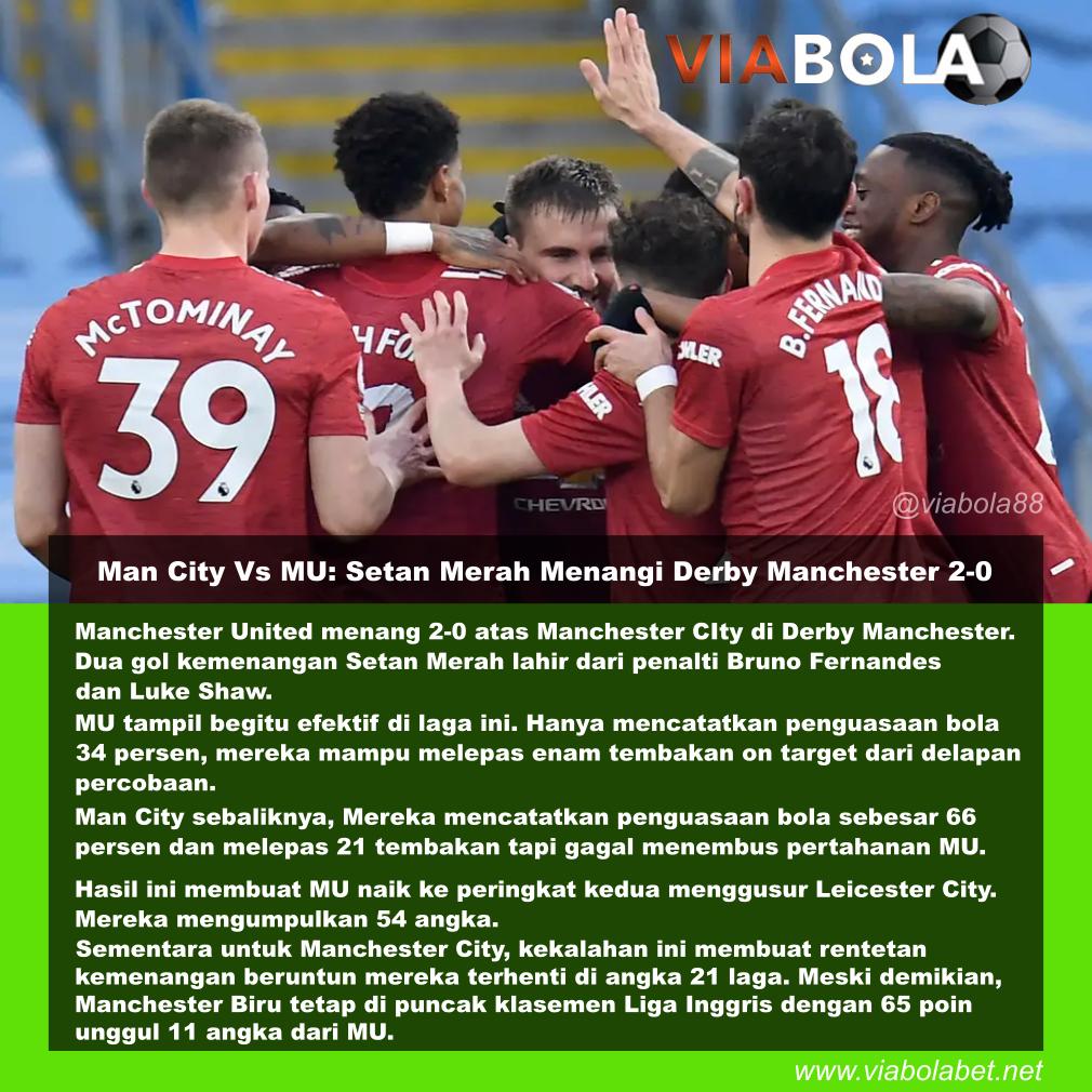 Man City Vs MU: Setan Merah Menangi Derby Manchester 2-0